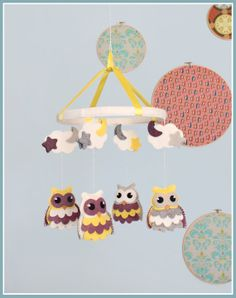 Owl Baby Mobile  Personalized  Puple and by BeeJanieBabyMobiles, $60.00