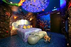 Little mermaid themed room. More for a teen or an adult than a little girl. Under the sea. Interior design.