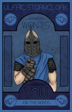 Ulfric Stormcloak wants YOU Nerdtastic Posters by Amanda Blauser