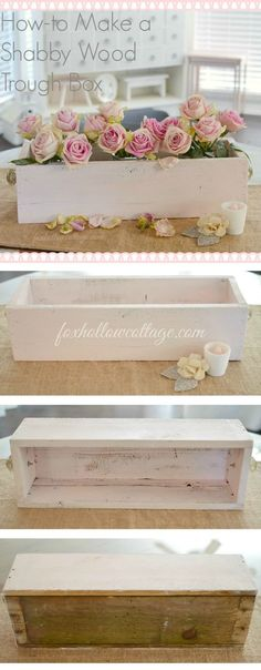 DIY Pallet Wood Home Decor | Simple DIY Project, easy to customize. Make it any size, in any color. Great for Spring in shabby pink. Perfect for parties table decor, centerpiece, even as a house-warming or thank you gift filled with flowers. http://foxhollowcotttage.com