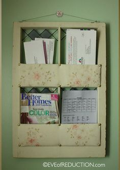 repurposed window used for a mail holder