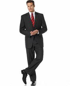 Lauren by Ralph Lauren Suit 2-Button Grey Stripe Wool - Suits & Suit Separates - Men - Macy's