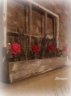 Love the idea of an indoor window box with flowers in mason jars Ball Canning Jars, Ball Mason Jars, Old Window Frames, Window Art, Old Window Decor, Old Window Ideas, Antique Windows, Vintage Windows, Wooden Windows