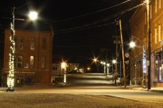 Bank Square in Eastport, Maine at night! Beautiful!
