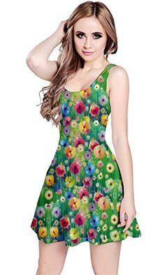CowCow Womens Colorful Garden 2 Sleeveless Dress, Colorfu...
