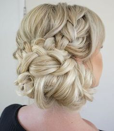 Chic twisted braided low updo wedding hairstyle; Featured Hairstyle: Heidi Marie Garrett