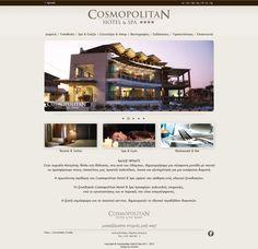 ''Cosmopolitan Hotel & Spa'' at Katerini, Greece, a Minimal Advertising company web design.