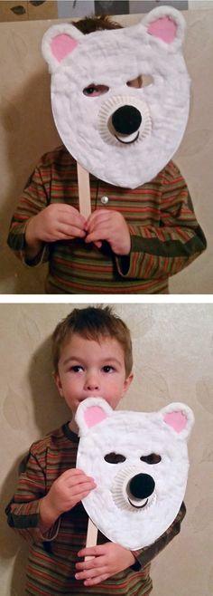 A fun polar bear mask for kids! Makes a great winter craft activity.