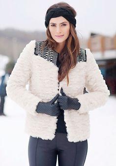 Ivory Sherpa Embellished Faux Fur Jacket - Donna Salyers' Fabulous Furs #fauxfur #FabulousFurs #DonnaSalyers #crueltyfree #fallfashion #winterfashion #ifakeit #fakefur #furcoat #furjacket #faux #white #donnaspicks