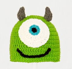 Mike Wasowski Hat from Monsters Inc. Green Crochet by JAVsDesigns