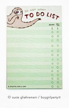 Sloth To Do List Notepad by Susie Ghahremani / boygirlparty.com – the boygirlparty shop – shop.boygirlparty.com