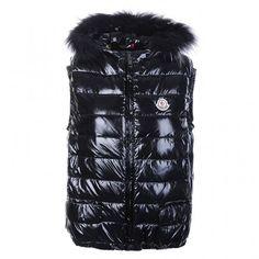 Moncler Homme - Acheter Tout Noir Homme Doudoune Moncler Gilet With Fur Pour Vente