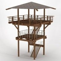 Wood Lookout Tower Model available on Turbo Squid, the world's leading provider of digital models for visualization, films, television, and games. Cubby Houses, Play Houses, Pole House, Lookout Tower, Build A Playhouse, Tower Design, Gazebo, Outdoor Living, Architecture Design