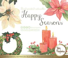 https://www.etsy.com/mx/listing/256150948/happy-seasons-elementos-clipart #navidad #Christmas #cards #DIY #nochebuena #coronadenavidad #poinsetia #ChristmasIsComing