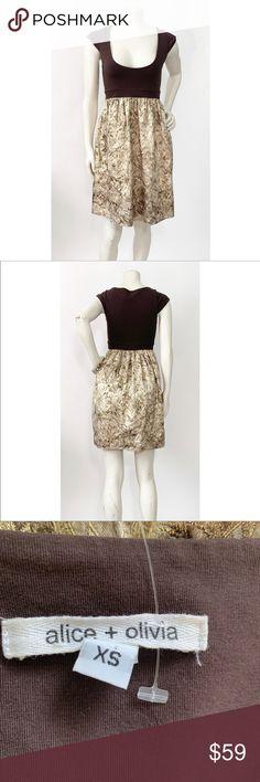 2b60267b0b Alice + Olivia Metallic Gold Brocade Dress Brown Condition Preowned Size XS  Alice + Olivia Dresses