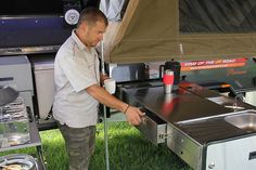 lightweight off-road camper trailer kitchen with drawers