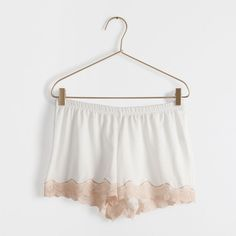 Shorts cotone pizzo beige