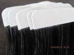 "86.30$  Buy here - http://ali2x7.worldwells.pw/go.php?t=32412930621 - ""18"""" 20"""" 22"""" 24"""" 40pcs 100g/pk 100% Indian Remy Human PU tape Glue Skin Weft Hair Extensions Color1B DHL Free Shipping"" 86.30$"