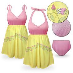 Customizable Strawberry Lemonade Halter or Shoulder Strap 2pc Plus Size Swimsuit/SwimDress 0x to 9x