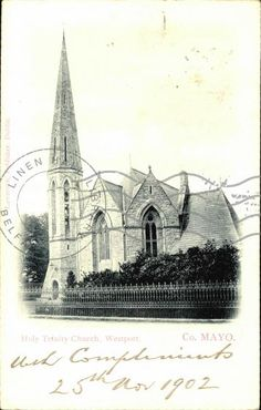 Holy Trinity Church, Westport, Co. County Mayo, Old Postcards, Holi, Cathedral, Ireland, Building, Travel, Viajes, Buildings