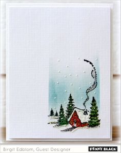 one layer card - christmas