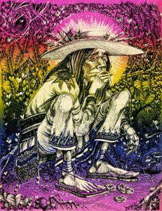 Mescalito (Huichol Indian)  Rick Griffin, San Francisco Oracle (1967)