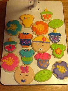 luau baby shower cookies