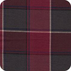 Cousette Flanelle de coton carreaux bordeaux 100% cotton grey/navy/burgundy plaid flannel