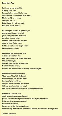 My sister sent me this poem when i loss my Sparky! This had brought so much comfort to my heart! #ripsparky