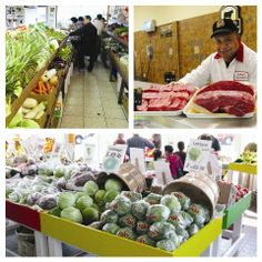 Dot Cornucopia: Top left: Fresh and affordable veggies at A.C. Farm Market, 1429 Dorchester Ave.; Top right: Ramon Perez, butcher at Brother...