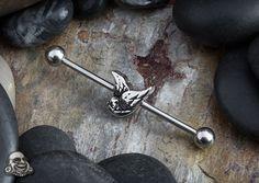 Steel swallow industrial barbell Industrial Piercing Jewelry, Industrial Barbell, Belly Rings, Belly Button Rings, Cute Ear Piercings, Piercing Ideas, Body Modifications, Pierced Earrings, Skin Art