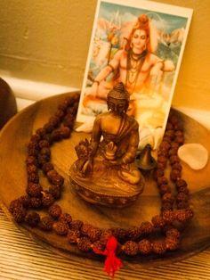 Buddha altar, with mala beads and Shiva Meditation Altar, Meditation Space, Yoga, Rooms Ideas, Hindu Worship, Prayer Box, Spiritual Inspiration, Shiva, Buddha