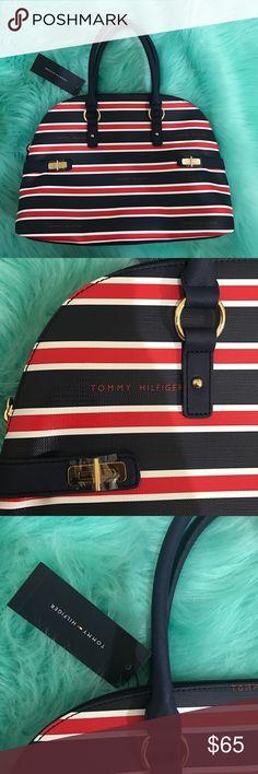 Tommy Hilfiger Hayden Striped Domed Satchel Zip Closure, 15x11x5 Tommy Hilfiger Bags Satchels