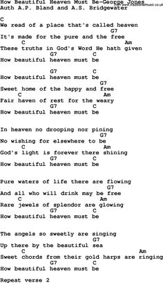 Country, Southern and Bluegrass Gospel Song How Beautiful Heaven Must Be-George Jones lyrics and chords