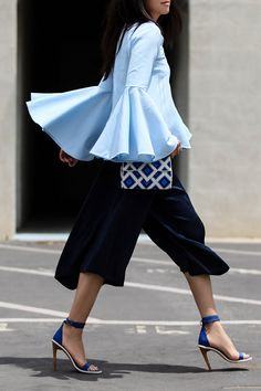 CHICWISH Serene Blue Top with Bell Sleeves, Chicwish Collaboration, bell sleeves top, bell sleeves trend, spring style, blues, street style, Dior 'Split' 59mm Aviator Sunglasses, Vince Wide Leg Culottes, Culottes style, From St Xavier clutch, Tibi sandals