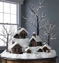 Twig Cabins and Houses Covered In Snow ~ rustic christmas village Noel Christmas, Country Christmas, Christmas Projects, Winter Christmas, Christmas Ideas, Simple Christmas, Cottage Christmas, Beautiful Christmas, Christmas Mantles