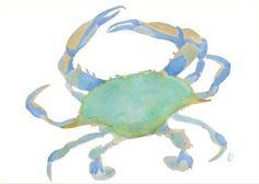 crab art (via capecodsummer) Crab Art, All Nature, Fauna, Moon Child, Coastal Style, Watercolor Art, Green Watercolor, Painting Inspiration, Nautical