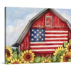 Classic Americana Art - Flag Barn wall art by Susan Winget available at Great BIG Canvas. Fall Canvas Painting, Cute Canvas Paintings, Summer Painting, Autumn Painting, Diy Canvas Art, Abstract Canvas, Diy Painting, Big Canvas, Acrylic Paintings