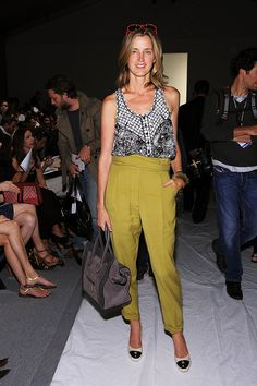 Amanda Brooks in Proenza Schouler top, 3.1 Phillip Lim pants, Chanel shoes and a Celine bag.