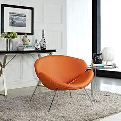 LexMod - Nutshell Lounge Chair in Orange