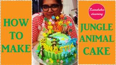 Jungle animal theme with fondant toppers elephant monkey giraffe deer Lion birthday cake design 3rd Birthday Cakes For Girls, Cricket Birthday Cake, Happy Bday Cake, Jungle Birthday Cakes, Cartoon Birthday Cake, Animal Birthday Cakes, Cool Birthday Cakes, Jungle Cake, Lion Birthday