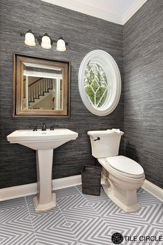 A beautiful, classic grey powder room with Premier Prints Striped Ceramic Tile by Tile Circle. Available online www.tilecircle.com
