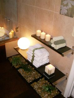 love this spa-like bathroom!!! But the shelving width/ length is sweet!