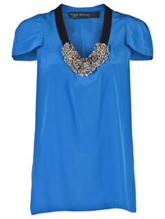 YIGAL AZROUEL  CREPE JEWEL TOP