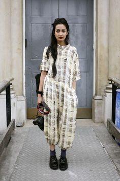 Street Style : silk jumper London street style.