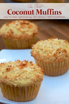 Weight Watchers One Bowl Coconut Muffins made lighter are so easy and delicious - only 188 calories, 7 WW Freestyle SmartPoints, 5 WW PointsPlus each! Coconut Recipes, Ww Recipes, Muffin Recipes, Cake Recipes, Dessert Recipes, Desserts, Diabetic Recipes, Recipies, Healthy Recipes