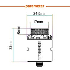 Tigertek Morphe RDA Diameter: Size: 24.5 x 32 mm Thread: 510 thread