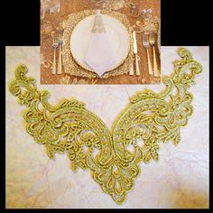 Gold lace applique trim metallic applique gold by Threads2Trends, $7.50