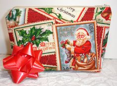 Gift Bag Zipper Pouch or Christmas Bag Wrap in Santa Stamp print by KeriQuilts, $12.00