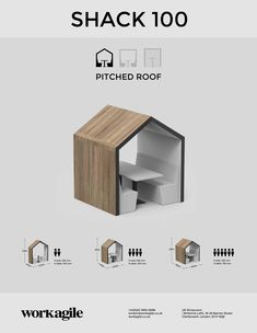 The Shack 100 Pitched Roof Meeting Booth creates a room within a room, defining space within the office. Signage Design, Roof Design, Exterior Design, Luxury Restaurant, Restaurant Design, Office Interior Design, Office Interiors, Gazebo Roof, Cafe Shop Design